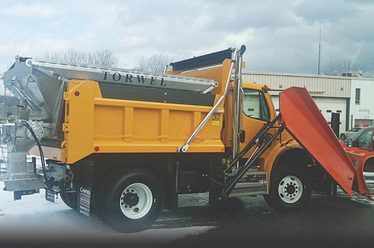 Designed for use with heavy-duty trucks, the Torwel line of V box municipal spreaders is available in 6- to 22-yard capacities.