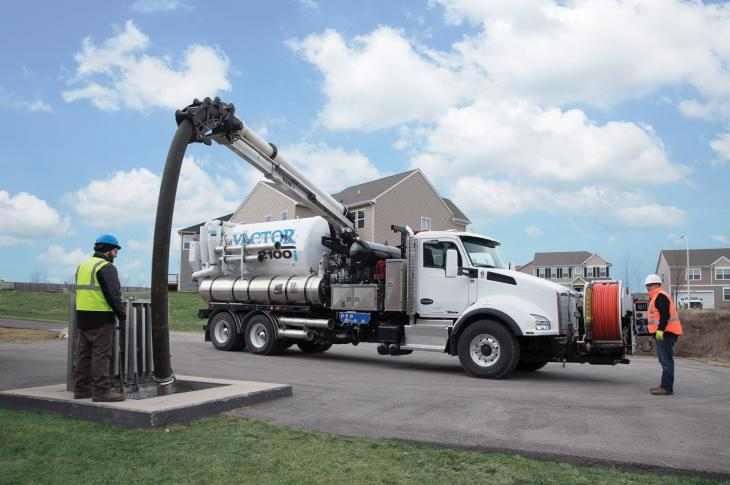 The Vactor RDB 1015 rapid deployment boom is an option for the company's 2100 Series combination sewer cleaners, which include the 2100i and 2100 Plus trucks.