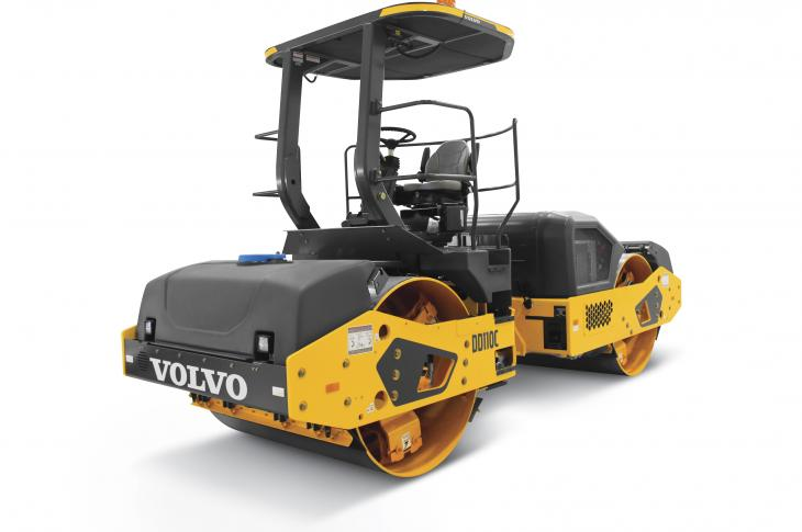 Volvo DD110C compactor has a 148-horsepower Volvo D4 Tier 4-F engine, an operating weight of 24,350 pounds, and a 66-inch-wide drum.