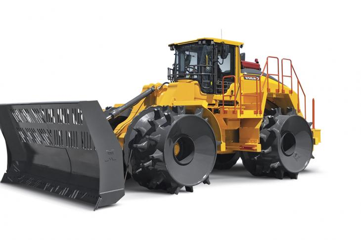 The LC450H landfill compactor has an operating weight of 90,000 pounds