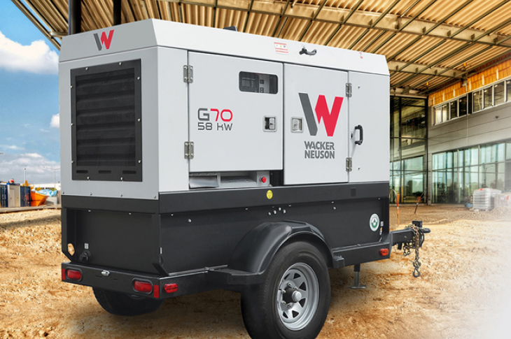 Wacker Neuson G70 generator provides single and three-phase power.
