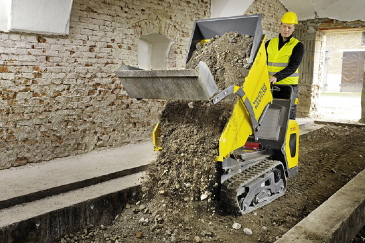Wacker Neuson DT10 dumper carries 1 ton of material.