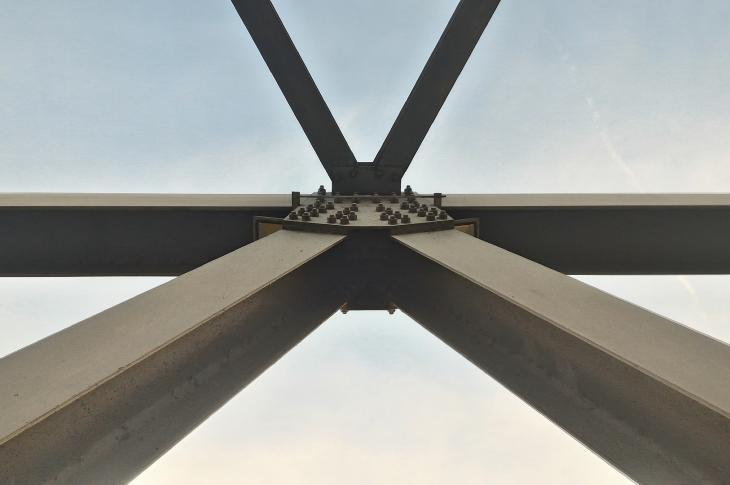 Shot of bridge's beams from below.