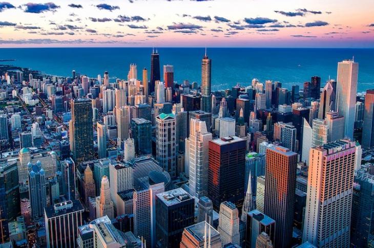 Chicago's skyscraper skyline at sunrise.