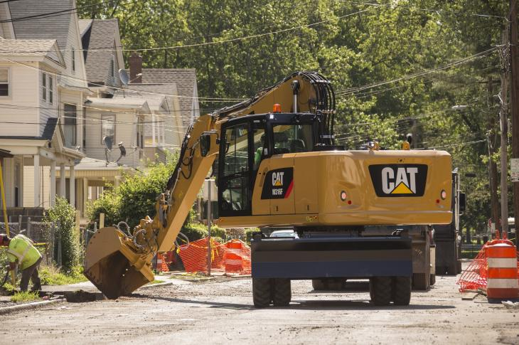 Rearview cameras on this Caterpillar excavator feed image to an in cab monitor.