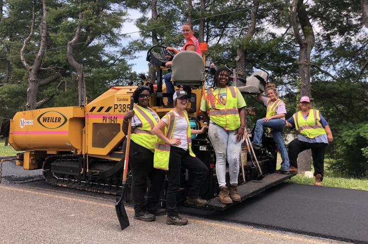 Maymead's all-women's paving crew.