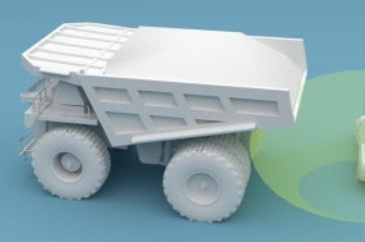 Animation of radar object detection on a mining truck.