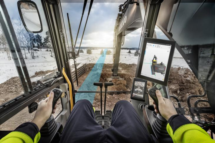 Volvo Construction Equipment Dig Assist system for excavators allows operators to set a reference point with a bucket tooth