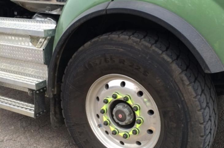 Heavy truck tires can detach when wheel nuts loosen.