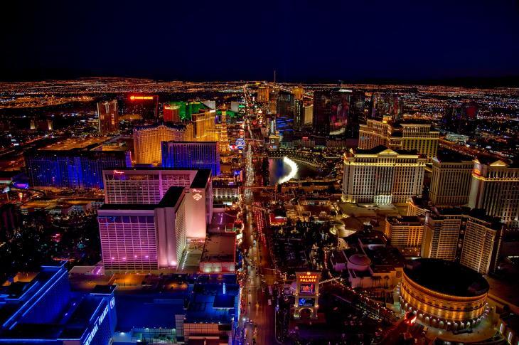 Overhead view of Las Vegas at night.