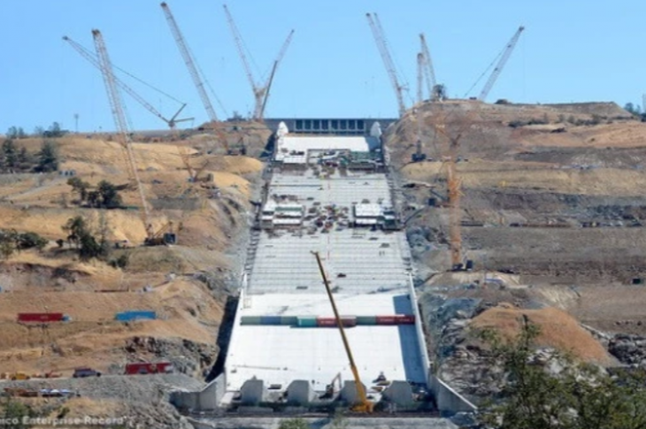 The Oroville Dam under construction.