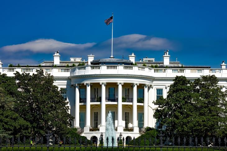 Front view of the U.S. White House.