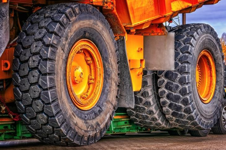 Wheels of a machine on site.