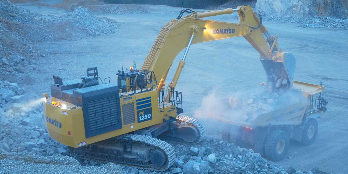 Komatsu PC1250-11 excavator has a 758 horsepower engine