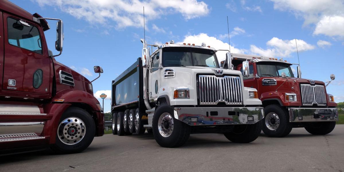 Test drive included these three Western Star Class 8 trucks.