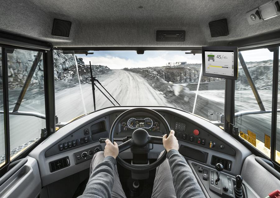 View of haul assist platform from the inside of a cab.