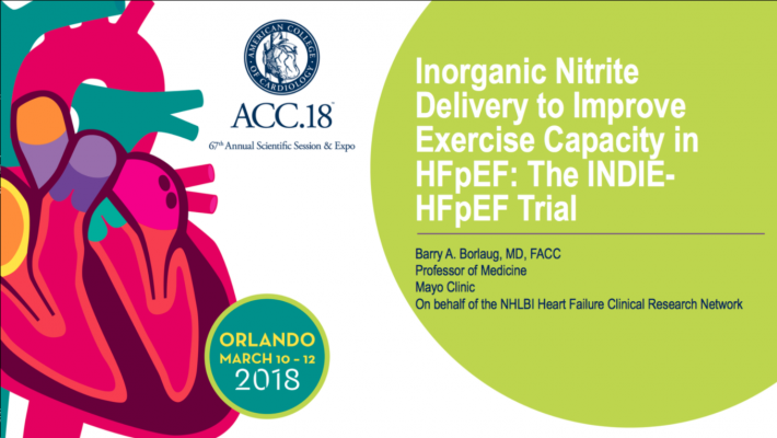 Inhaled Therapy Ineffective in Difficult-to-Treat Heart Failure at ACC 2018.