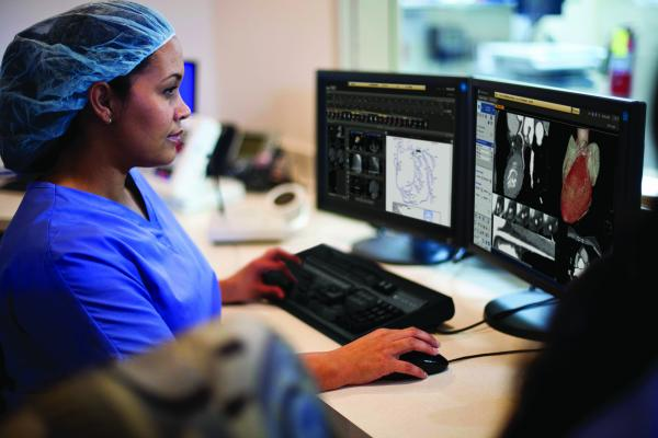 The cardiology information system (CVIS) — IntelliSpace Cardiovascular from Philips Healthcare, being used in the cath lab.