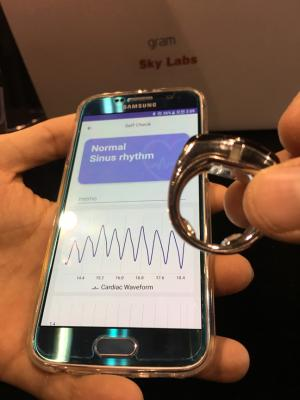 Start up company Skylab showed a new ECG ring that the patient wears and interfaces with a smartphone app for automated analysis of the waveforms. The company's studies found it had 96 percent accuracy for detecting atrial fibrillation.  This was at AHA.18, AHA 2018 - the American Heart Association annual meeting.