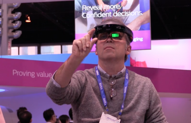 An RSNA attendee using Novarad's OpenSight augmented reality for surgical applications. RSNA 2017, #RSNA2017, #RSNA17