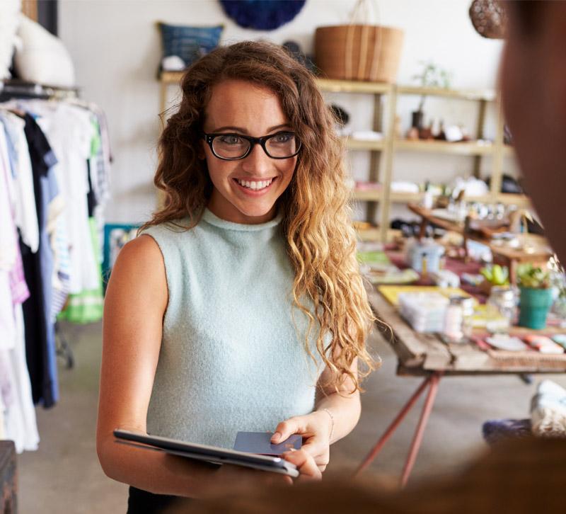 Adobestock woman smiling at customer