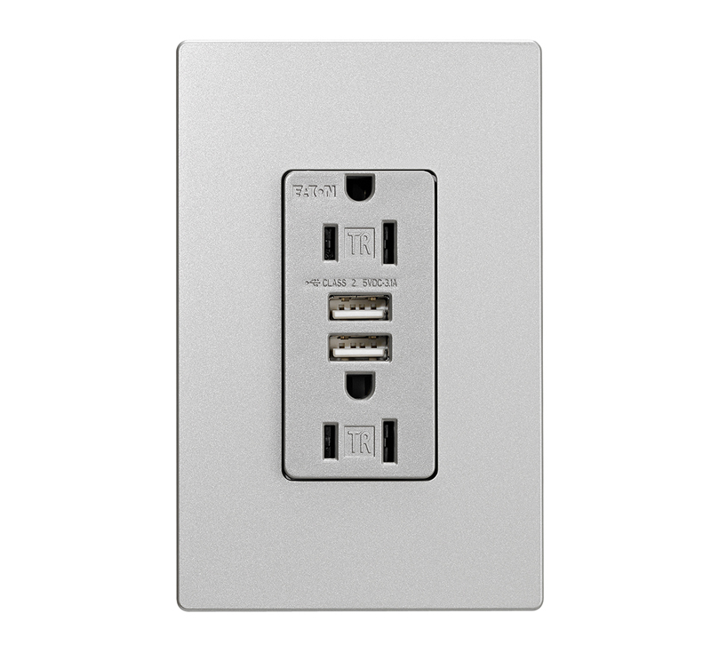 Eaton Designer USB Charger with Duplex Receptacle