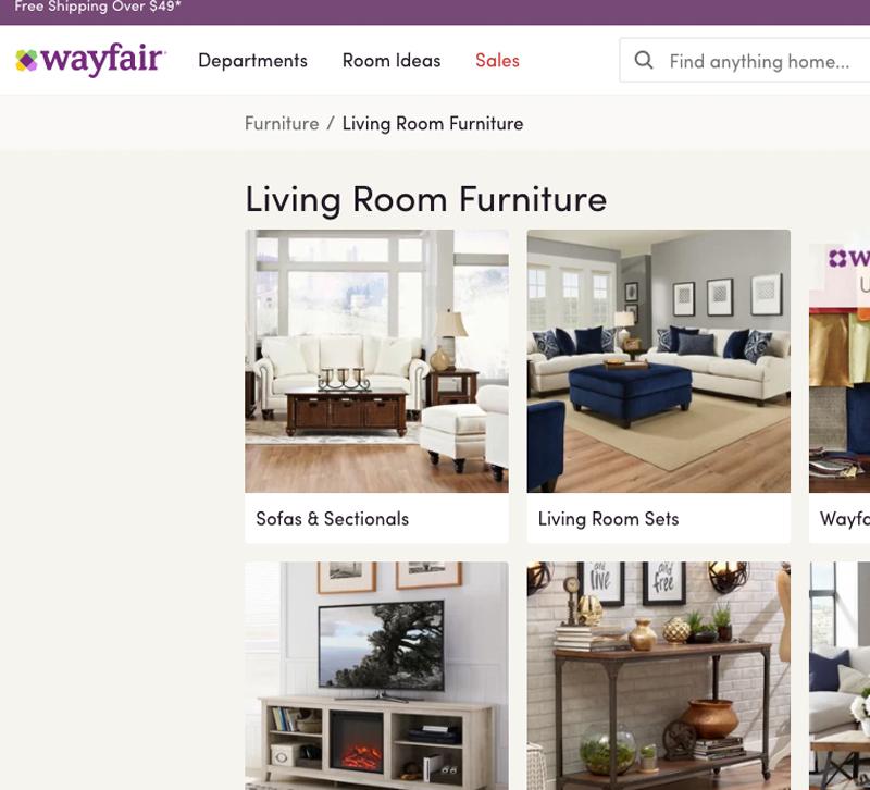 Screenshot of Wayfair's website