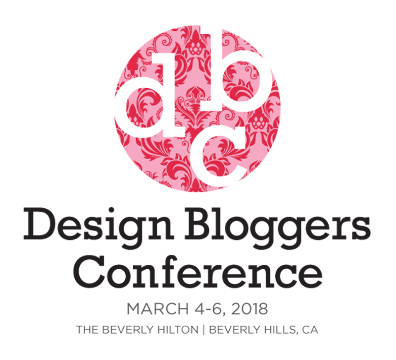 Design Bloggers Conference logo in pink and white