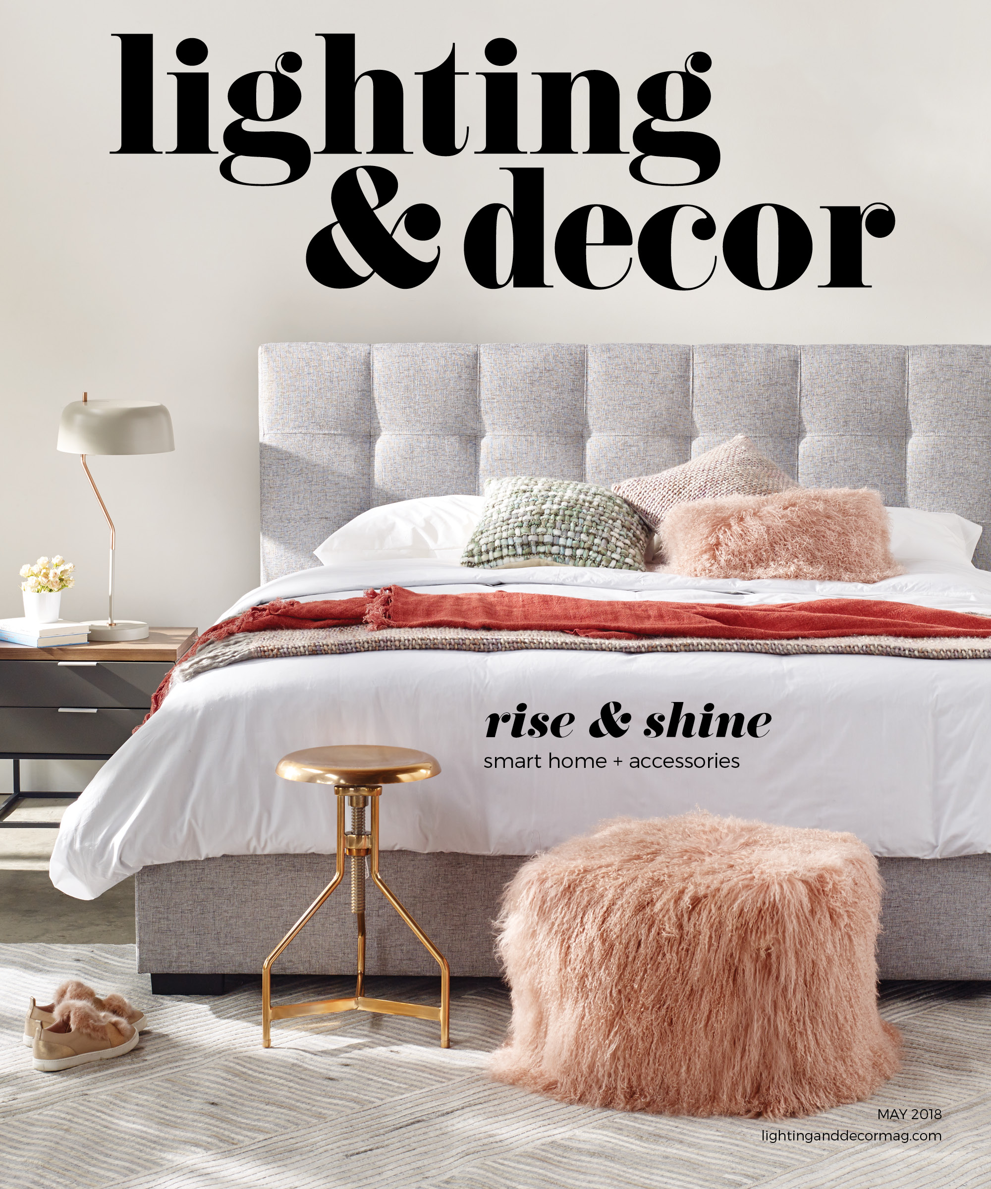 pink ottoman gray bed
