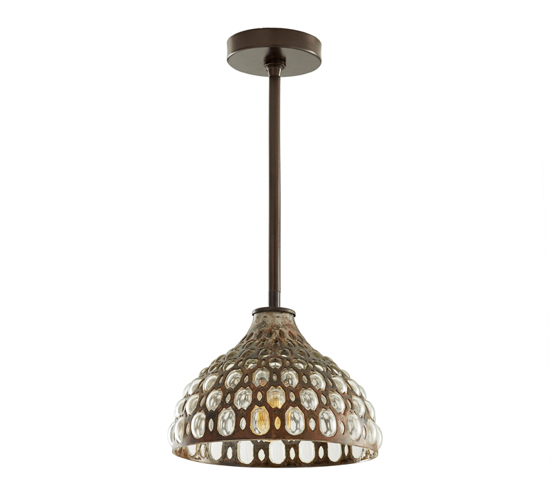Lenny pendant with a Natural Iron finish from Arteriors, which displays its UL lighting listing