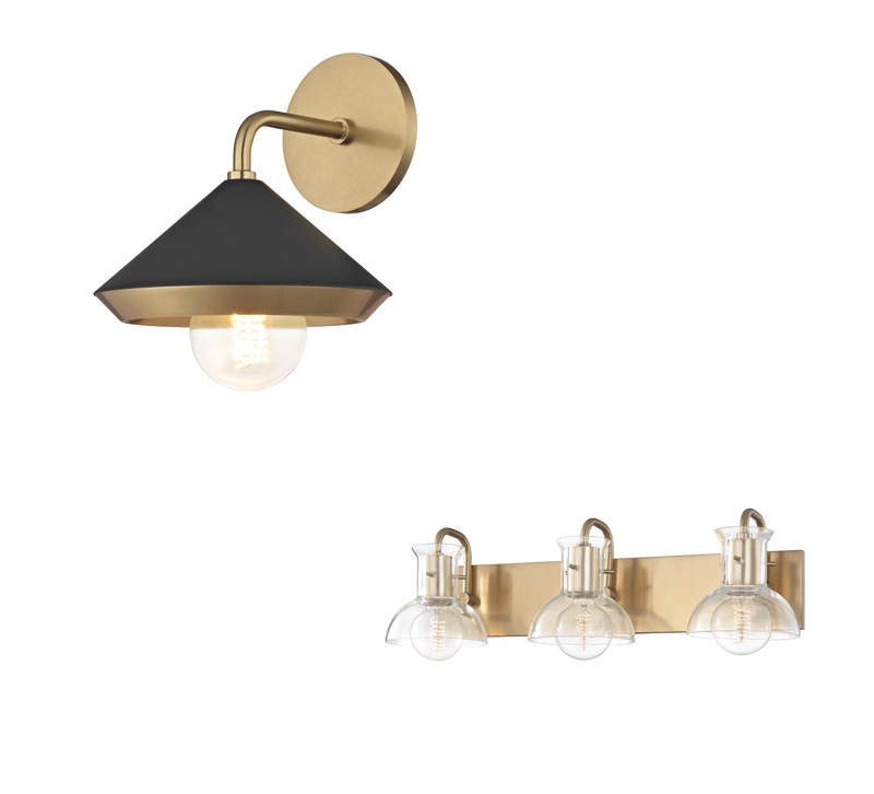 Marnie brass and black wall sconce and the Riely bath bar with a brass backplate from Mitzi by Hudson Valley Lighting