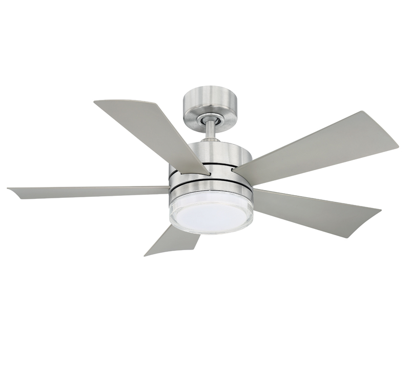 Wynd Smart five-blade Ceiling Fan in chrome with LED light kit from Modern Forms
