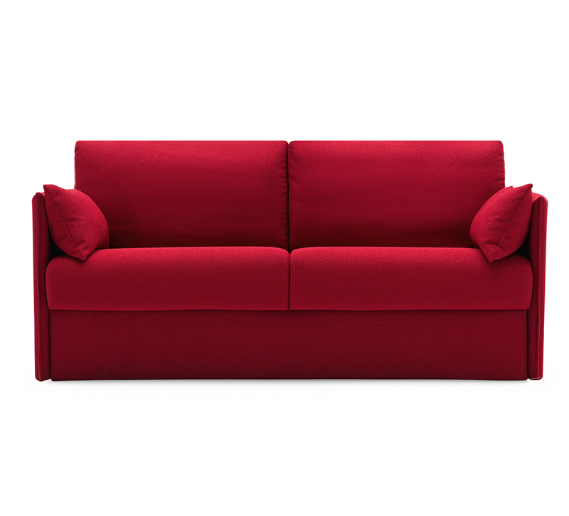 Urban two-seater Sofa Bed with two pillows in red from Calligaris