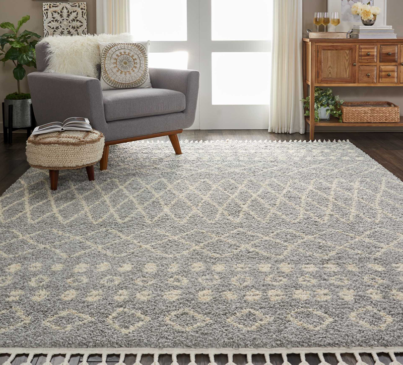 Nourison Moroccan Gray And White Rug In Living Room
