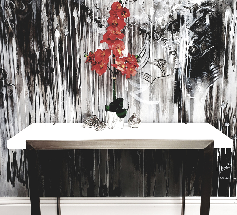 A black-and-white wall in the Contemporary Living showroom in Lake Park, FL