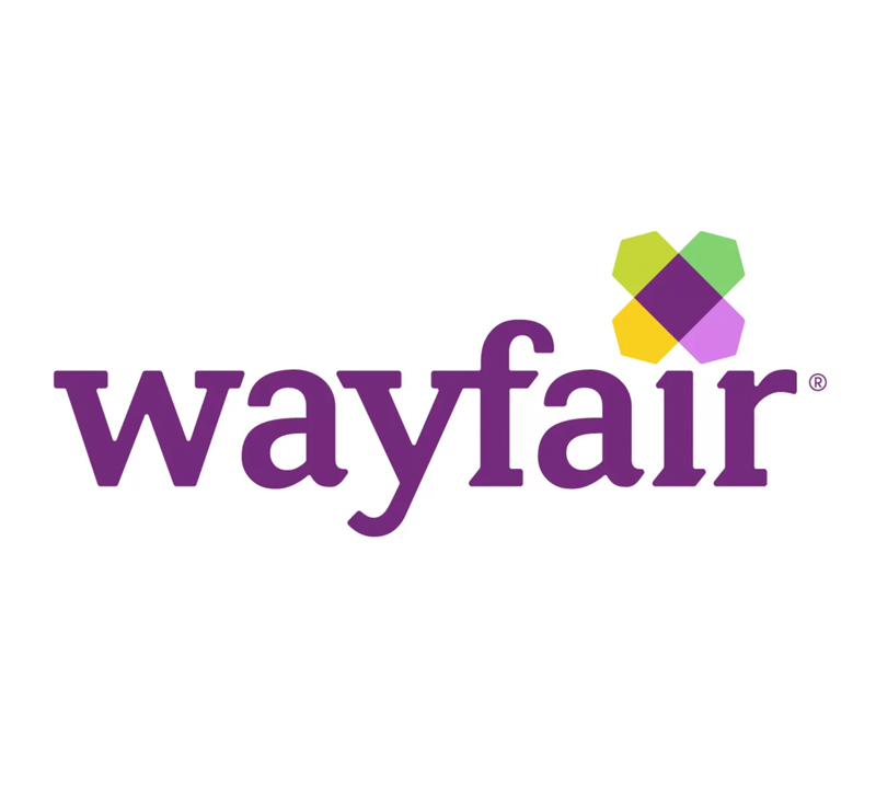 Wayfair logo with purple text