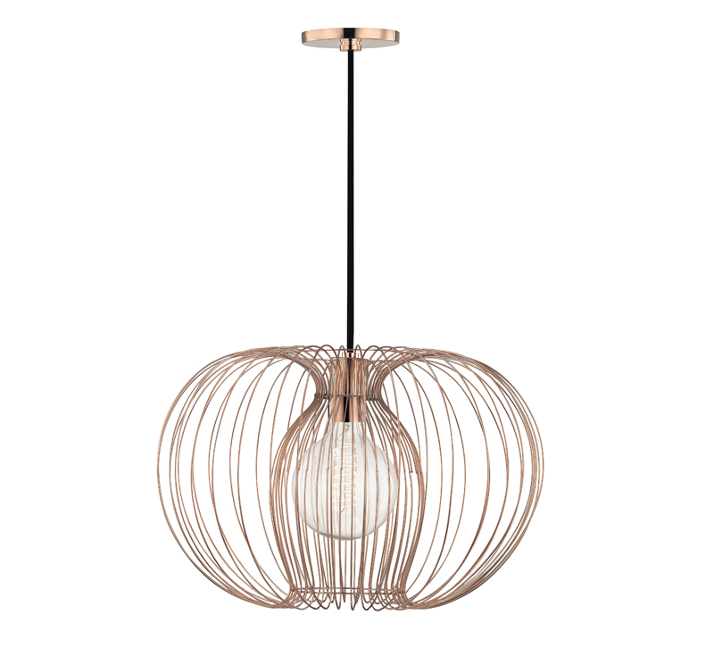 Jasmine Pendant with a metal cage in Rose Gold surrounding the bulb from Mitzi