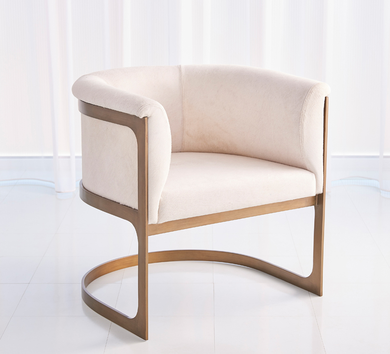 Regan Barrel Chair in a white velvet fabric with a gold frame from Studio A Home