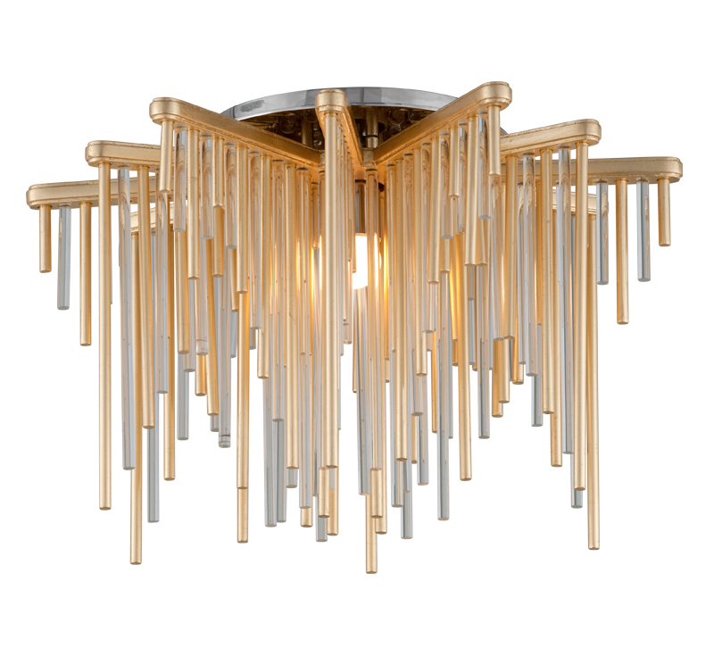 Theory Semi-Flush Mount with brass and clear rods hanging down in a star-like shape from Corbett Lighting