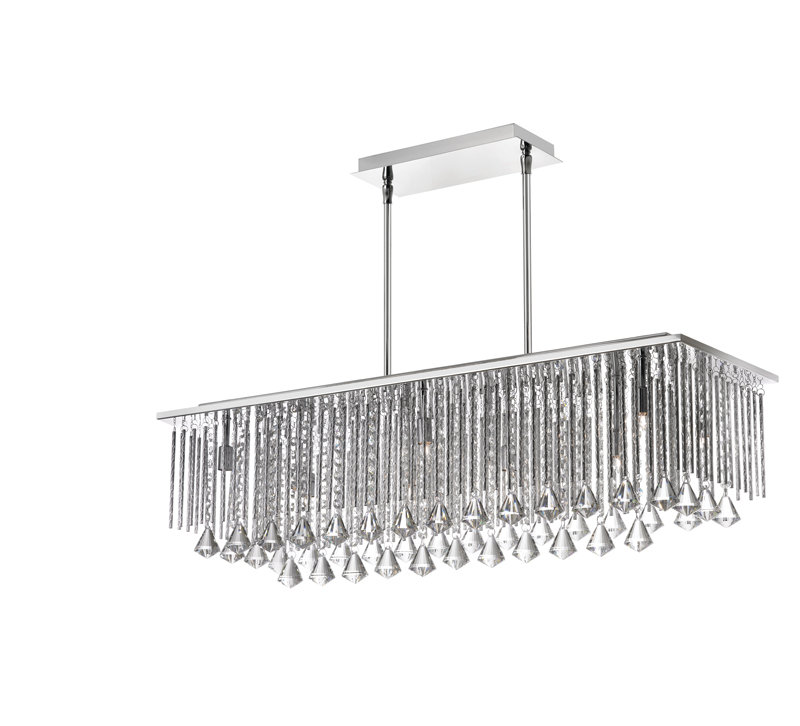 Jacqueline Chandelier in Chrome with glass and clear beads hanging down from the rectangular base from Dainolite