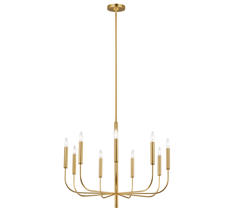 Gold Brianna chandelier with nine lights and tubular arms from ED Ellen DeGeneres by Generation Lighting