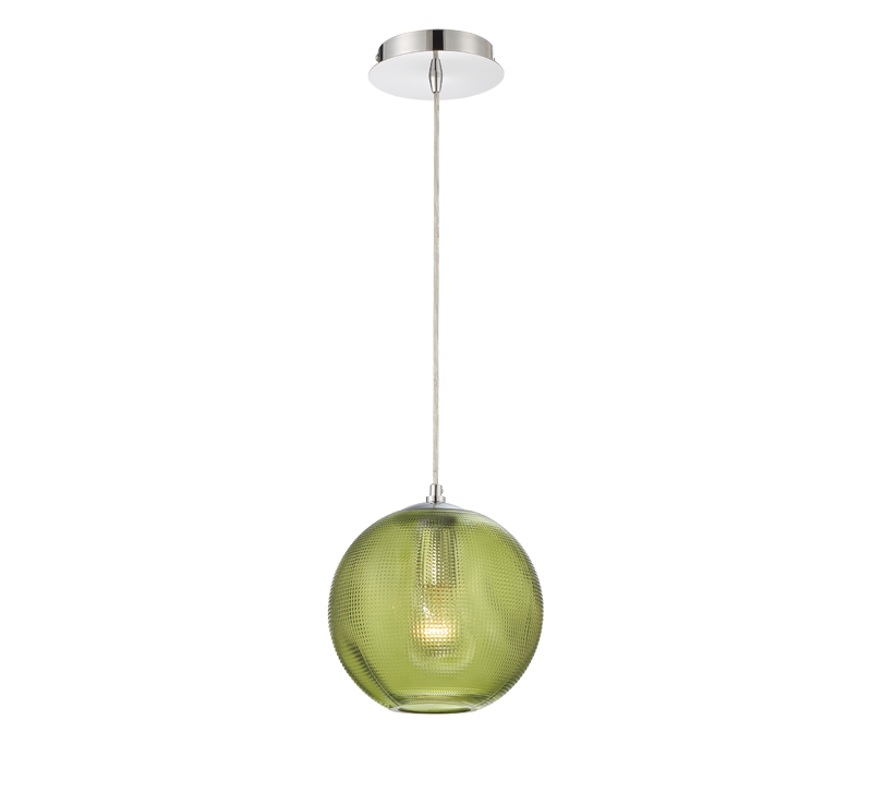 Della Pendant with a single green glass orb surrounding the light bulb from Eurofase