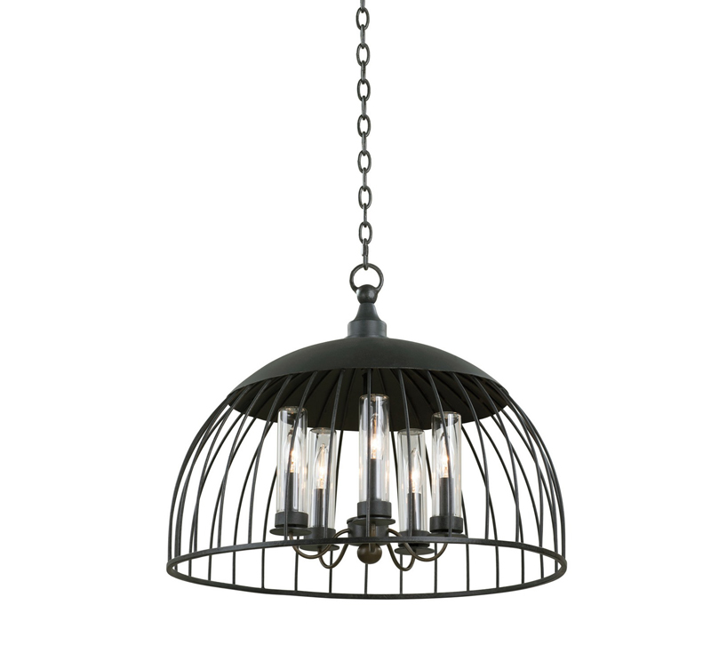 Ludlow Outdoor Pendant in Matte Black with a half-moon cage surrounding five bulbs from Kalco Lighting