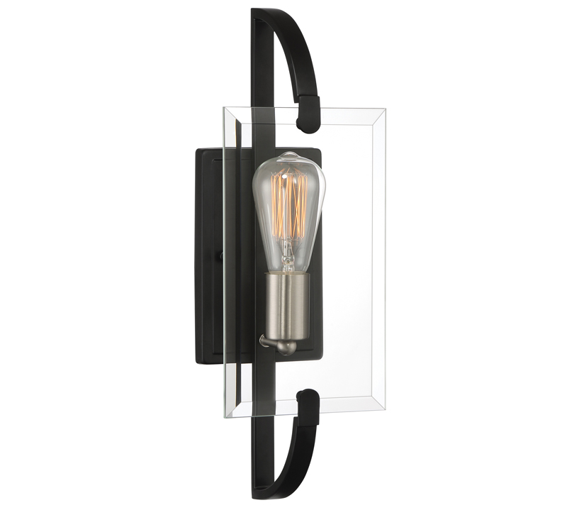 Vessel Wall Sconce with clear, rectangular glass in front of bulb with black backplate and arms from Quoizel