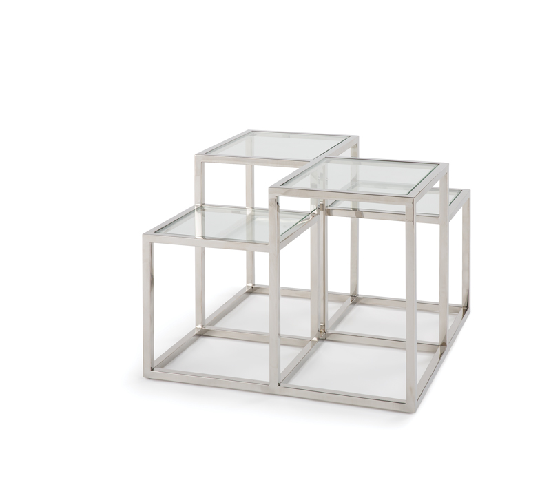 Astoria grouping square side tables of two heights in Polished Chrome from Regina Andrew Design