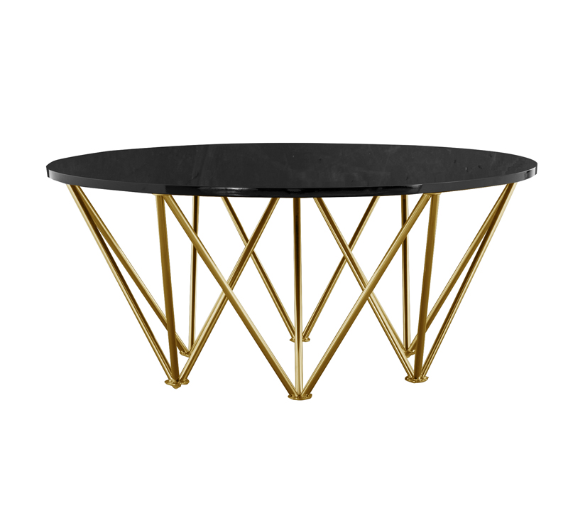 Layla Coffee Table with a black top and brass hairpin legs from Abbyson LIving