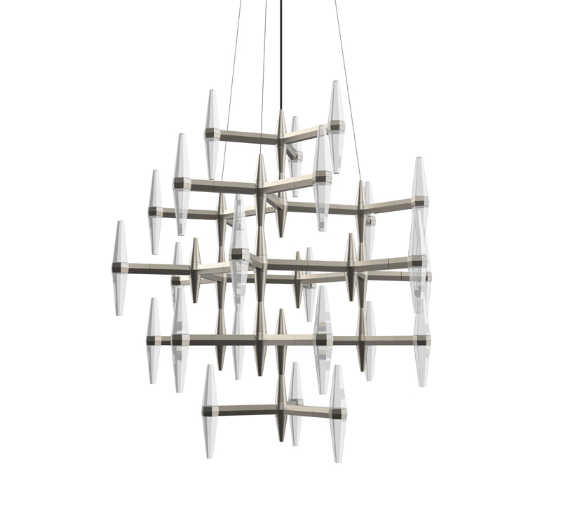 Prism multi-tiered chandelier with diamond-shaped cyrstals in each three-pronged arm from Blackjack Lighting