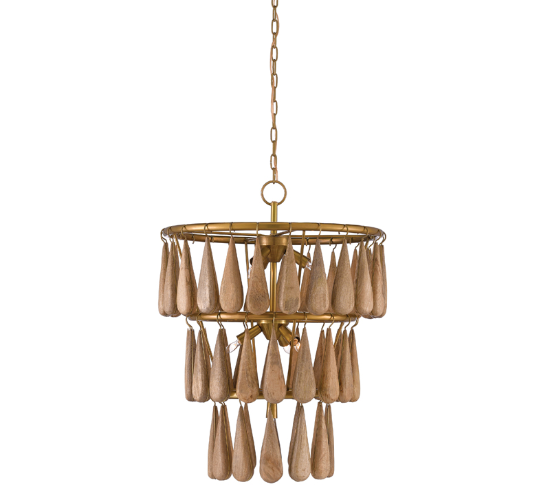 Savoiardi three-tired Chandelier with woden dollops hanging from each tier from Currey & Co.
