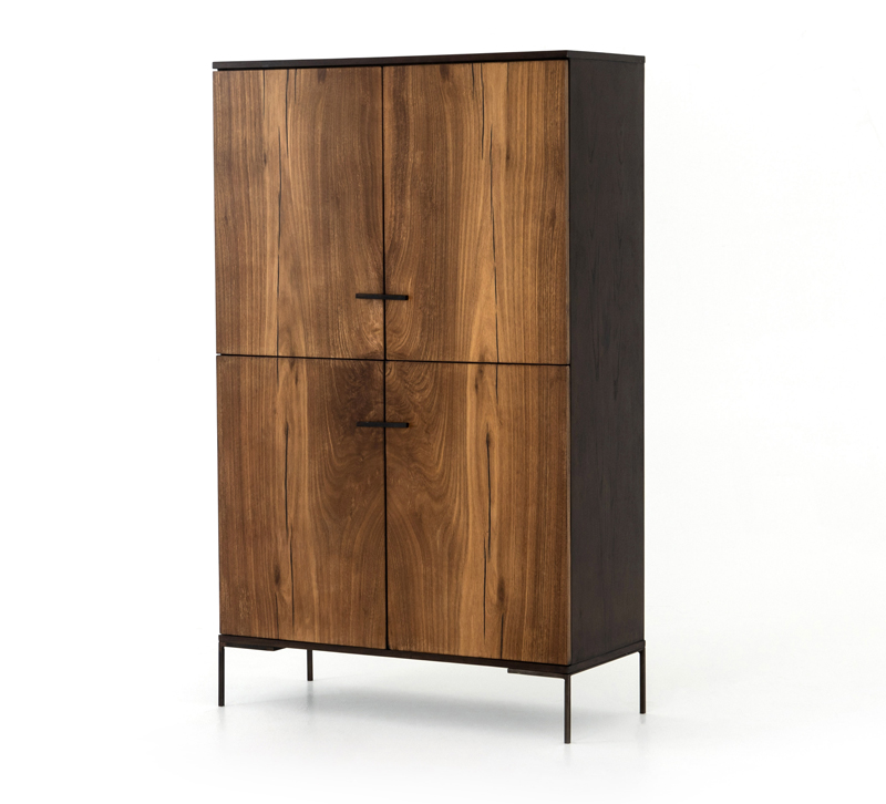 Cuzco four-door tall Cabinet with a bronze metal frame and dark wood panels from Four Hands
