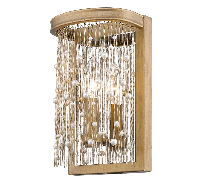 Marilyn Wall Sconce in gold with strands of beads hanging down and surrounding the bulb from Golden Lighting